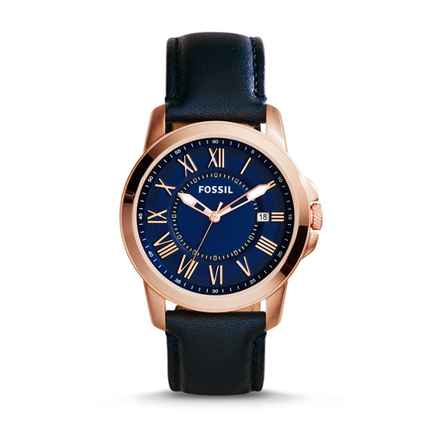 Grant Three-Hand Date Leather Watch - Navy