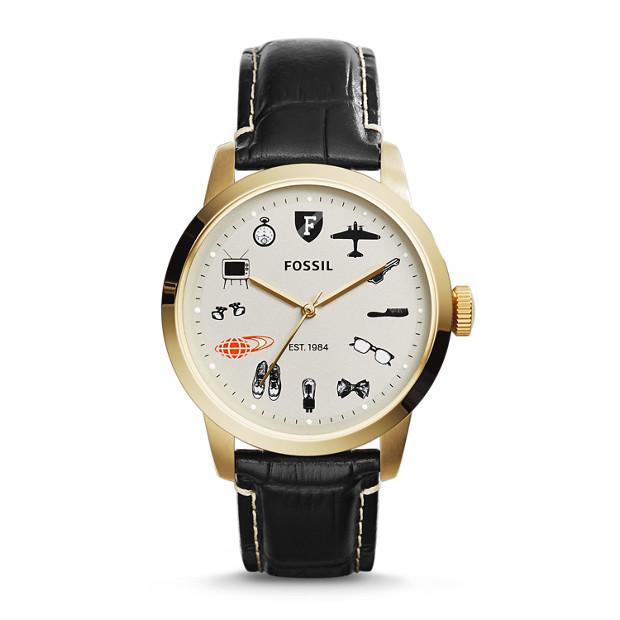 BEAMS X FOSSIL Townsman Three-Hand Leather Watch - Black Croco