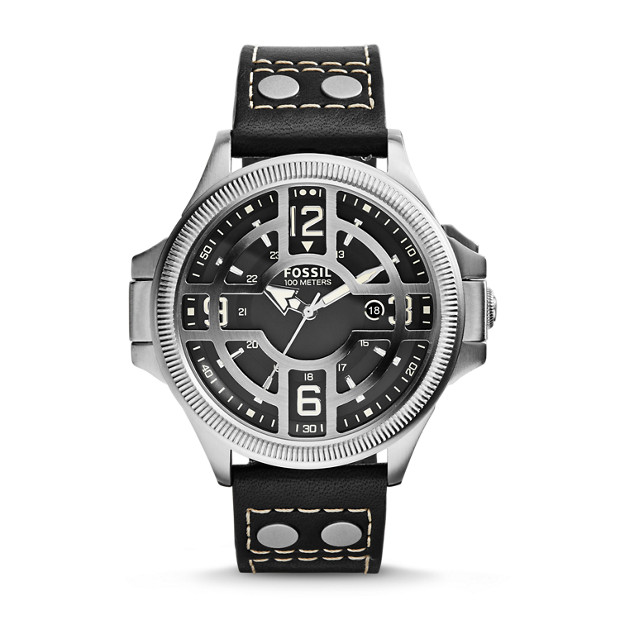 Recruiter Black Leather Watch