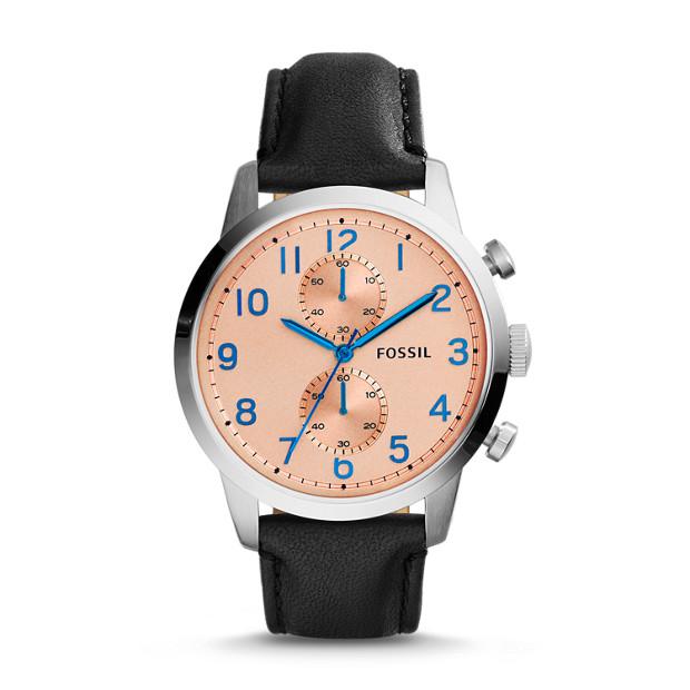 Townsman Chronograph Leather Watch - Black