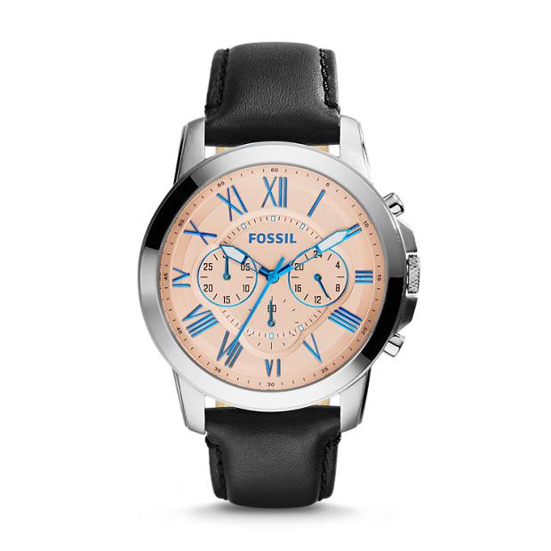 Grant Chronograph Black Leather Watch
