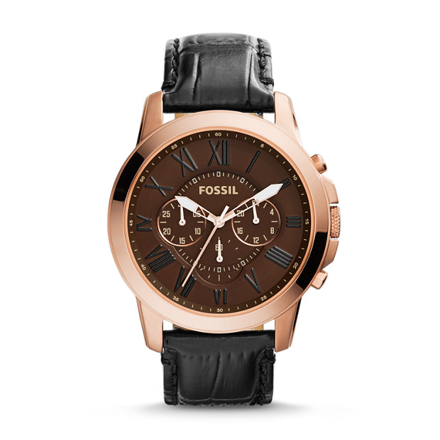 Grant Chronograph Black Croco Leather Watch