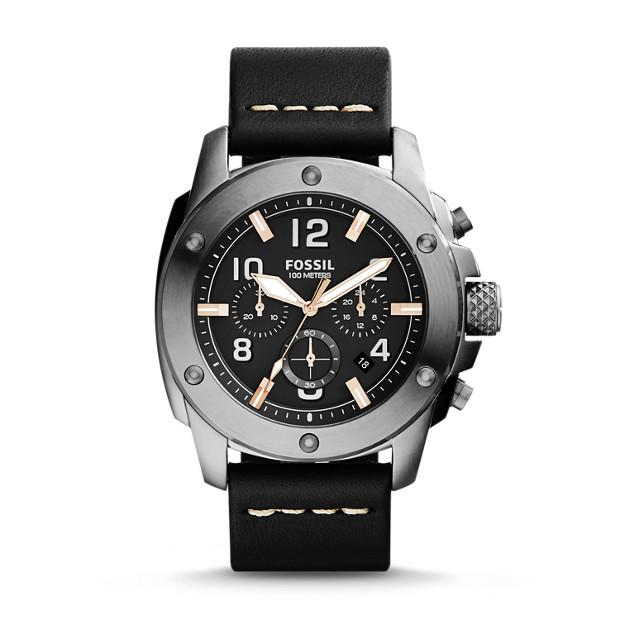 Modern Machine Chronograph Black Leather Watch
