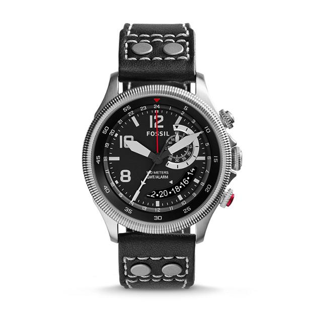 Recruiter Multifunction Black Leather Watch
