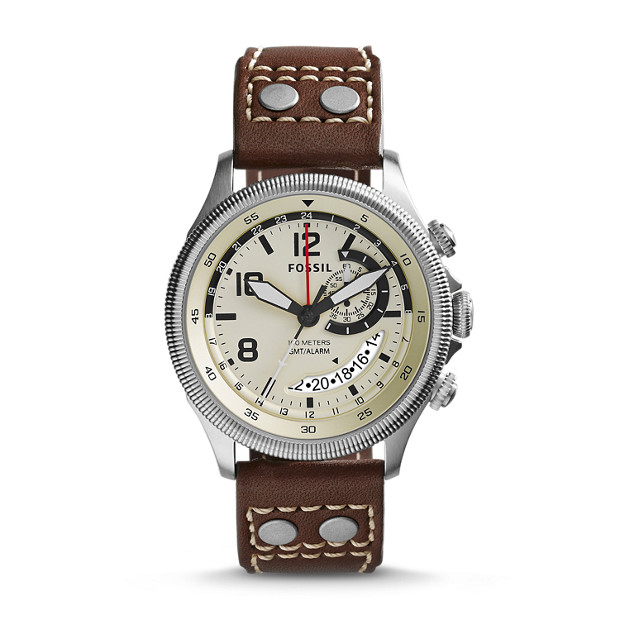 Recruiter Multifunction Brown Leather Watch