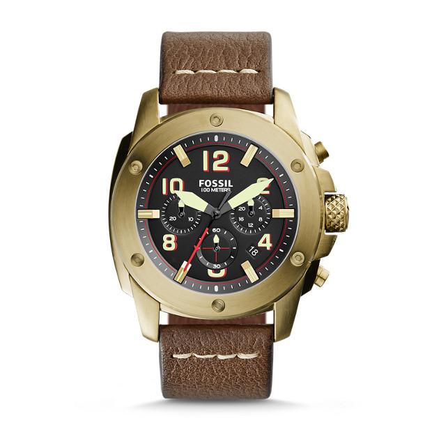 Modern Machine Chronograph Dark Brown Leather Watch