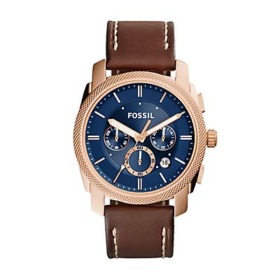 Machine Chronograph Brown Leather Watch