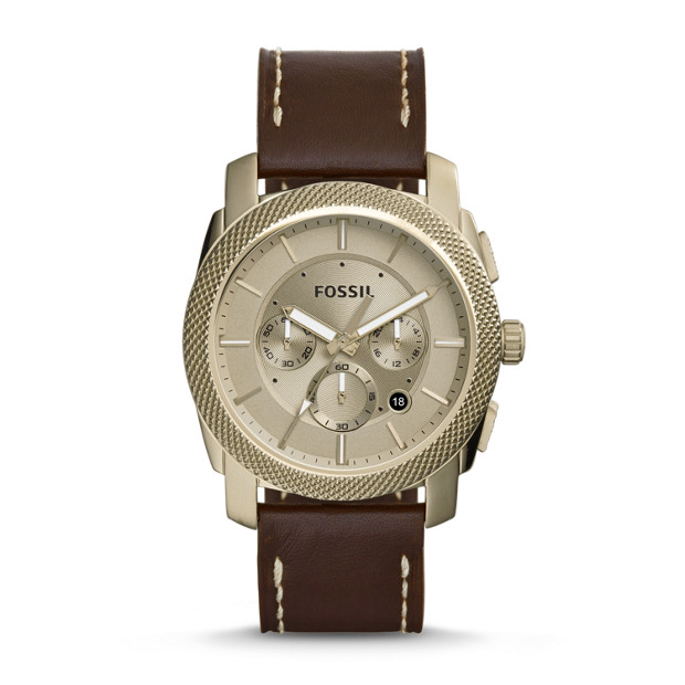 Machine Chronograph Beige Gold-Tone Leather Watch