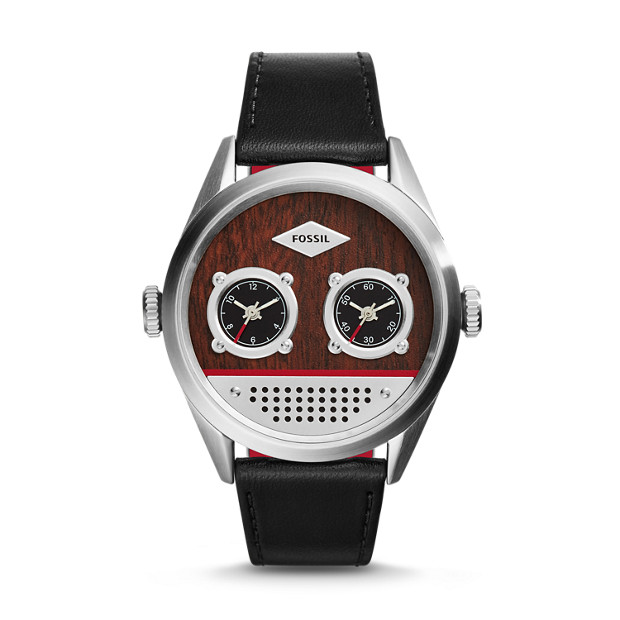 Del Rey Dual Time Black Leather Watch
