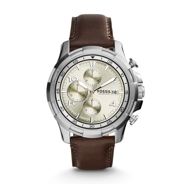 Dean Chronograph Dark Brown Leather Watch