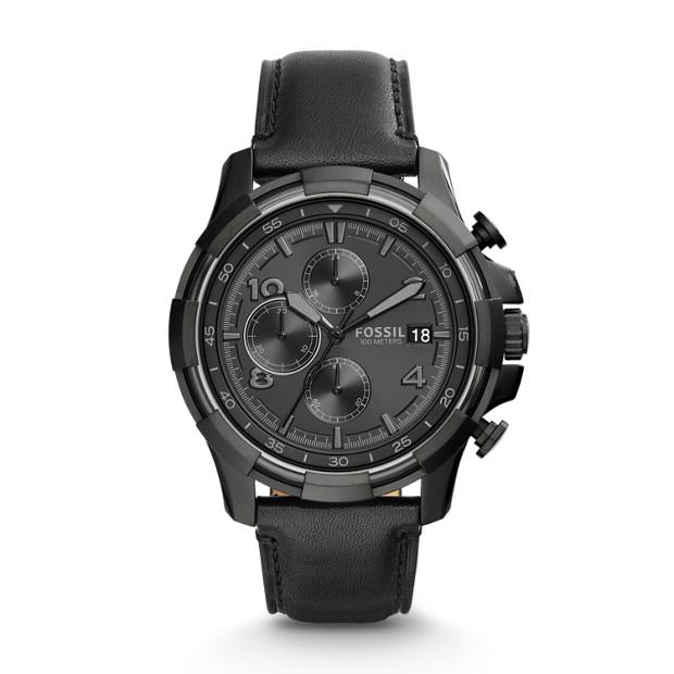 Dean Chronograph Black Leather Watch