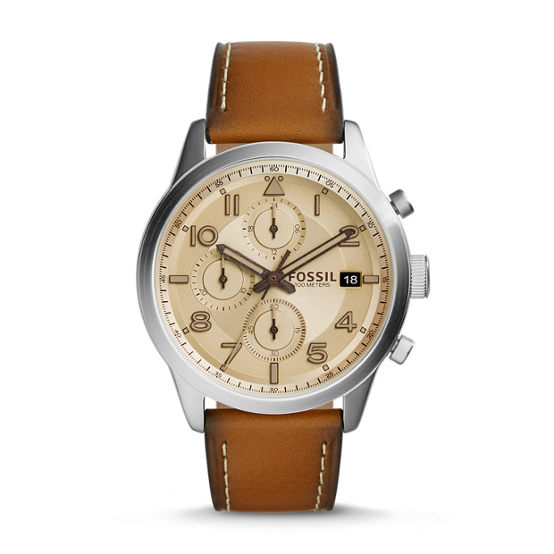 Daily Chronograph Leather Watch  - Brown