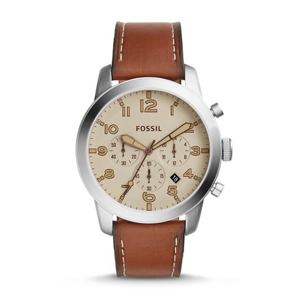 Montre Pilot 54 chronographe en cuir brun clair