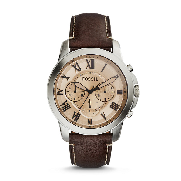 Grant Chronograph Dark Brown Leather Watch