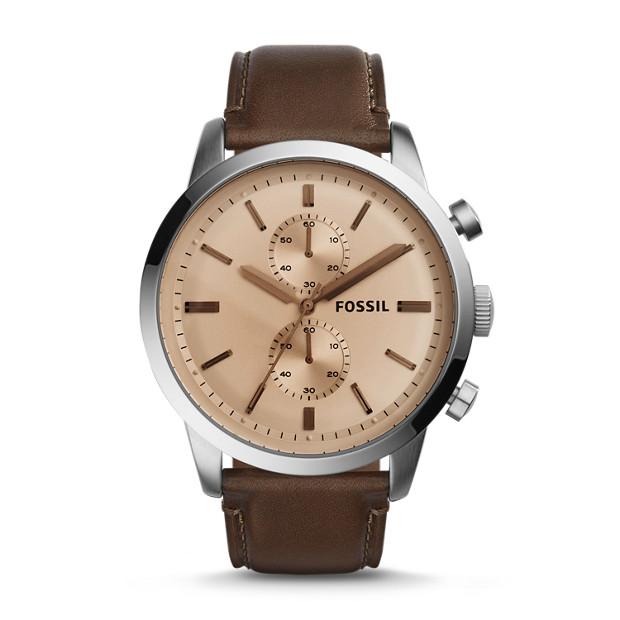 Montre Townsman chronographe en cuir marron