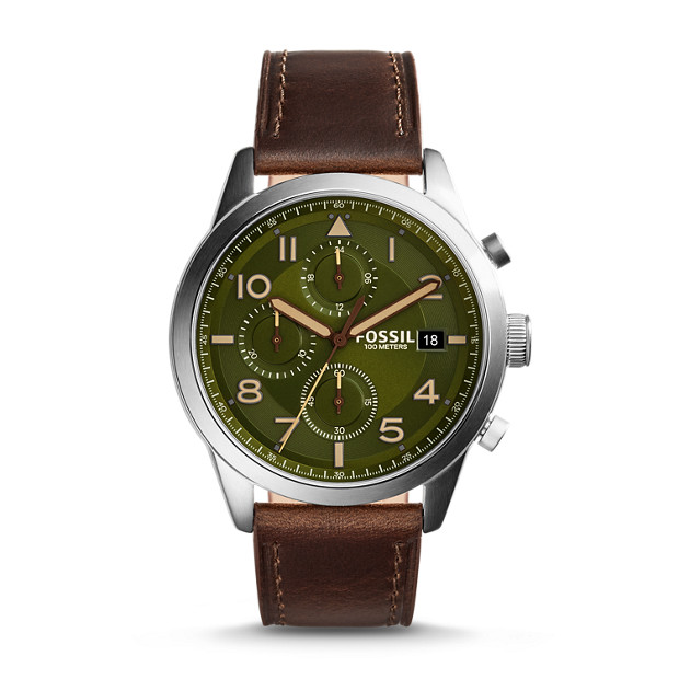 Daily Chronograph Dark Leather Watch