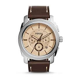 Machine Chronograph Dark Brown Leather Watch