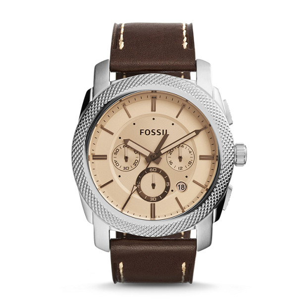 Montre Machine chronographe en cuir marron