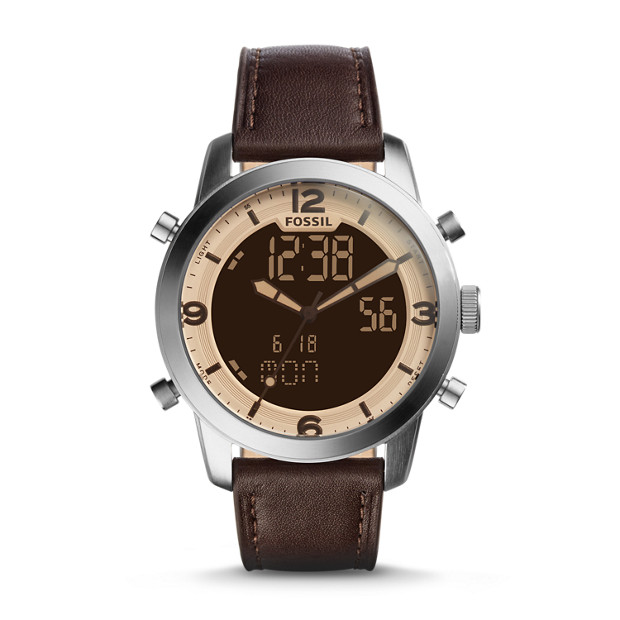 pilot 54 analog digital brown leather fossil