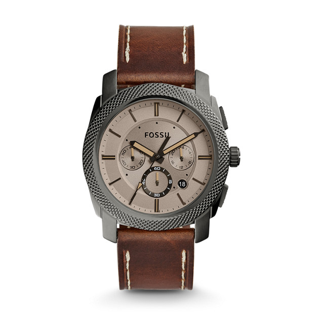 Machine Chronograph Brown Leather Watch