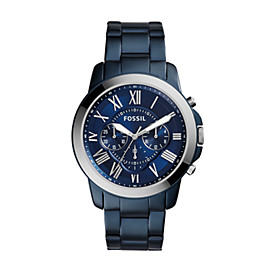 Grant Chronograph Blue-Tone Stainless Steel Watch