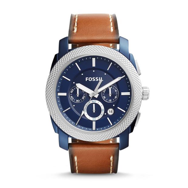Machine Chronograph Dark Brown Leather Watch