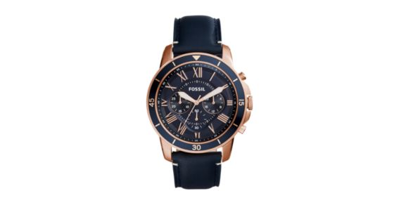 74a3b37696a Grant Sport Chronograph Blue Leather Watch - Fossil