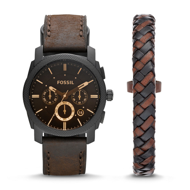 Machine Chronograph Dark Brown Leather Watch And Bracelet Box Set