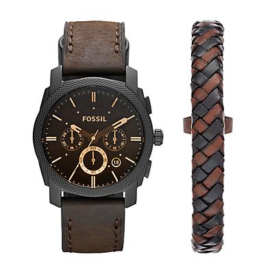 Machine Chronograph Dark Brown Leather Watch and Bracelet Box Set