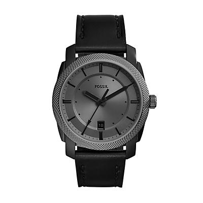 Machine Three-Hand Date Black Leather Watch