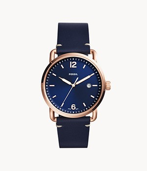 Herrenuhr The Commuter 3-Zeiger/Datum Leder Blau