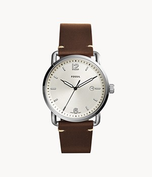 The Commuter Three-Hand Date Brown Leather Watch