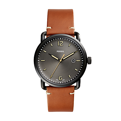 The Commuter Three-Hand Date Luggage Leather Watch