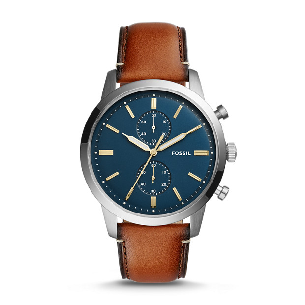 townsman 44mm chronograph luggage leather watch fossil. Black Bedroom Furniture Sets. Home Design Ideas