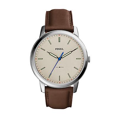 The Minimalist Slim Three-Hand Brown Leather Watch
