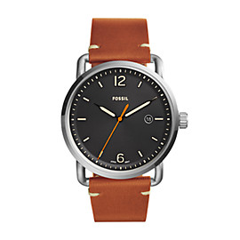 The Commuter Three-Hand Date Light Brown Leather Watch