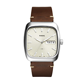 Rutherford Three-Hand Day-Date Brown Leather Watch
