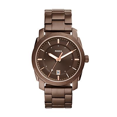 Machine Three-Hand Date Brown Stainless Steel Watch