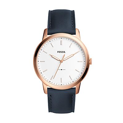 The Minimalist Three-Hand Navy Leather Watch