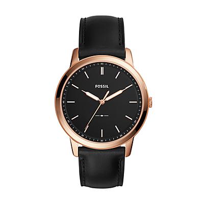 The Minimalist Three-Hand Black Leather Watch