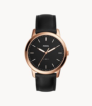 Herrenuhr The Minimalist Slim Leder Schwarz