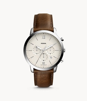 Montre Neutra chronographe en cuir marron