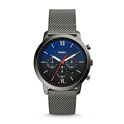 Neutra Chronograph Smoke Stainless Steel Leather Watch