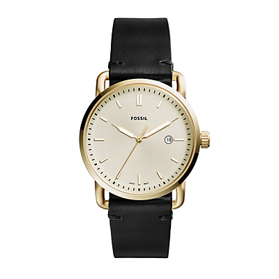 The Commuter Three-Hand Date Black Leather Watch