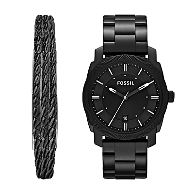 Machine Three-Hand Date Black Stainless Steel Watch and Jewellery Box Set