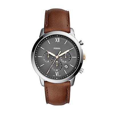 Montre chronographe Neutra en cuir brun clair