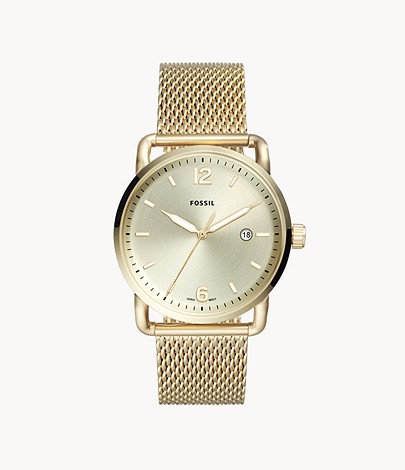 The Commuter Three-Hand Date Gold-Tone Stainless Steel Watch - FS5420 -  Fossil