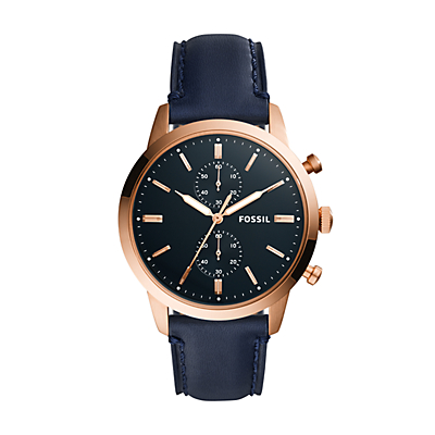 Townsman 44 mm Chronograph Navy Leather Watch