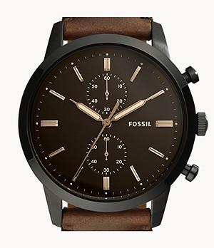 Montre Townsman chronographe en cuir marron de 44 mm