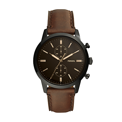 Townsman 44 mm Chronograph Brown Leather Watch